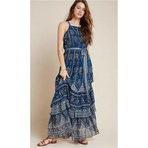 Anthropologie Sasha  Ruffled Maxi Dress Blue M